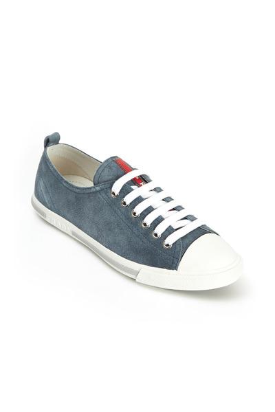 Prada - Blue Suede Low Top Sneakers