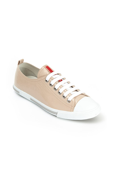 Prada - Nude Patent Leather Low Top Sneakers