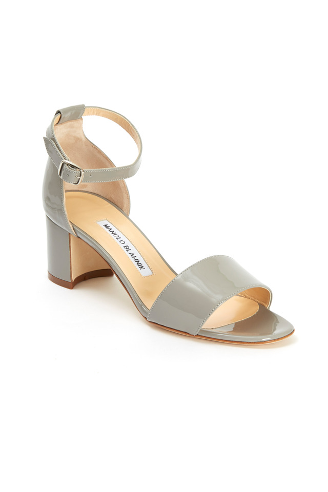 Lauramod Grey Patent Leather Ankle Strap Sandals