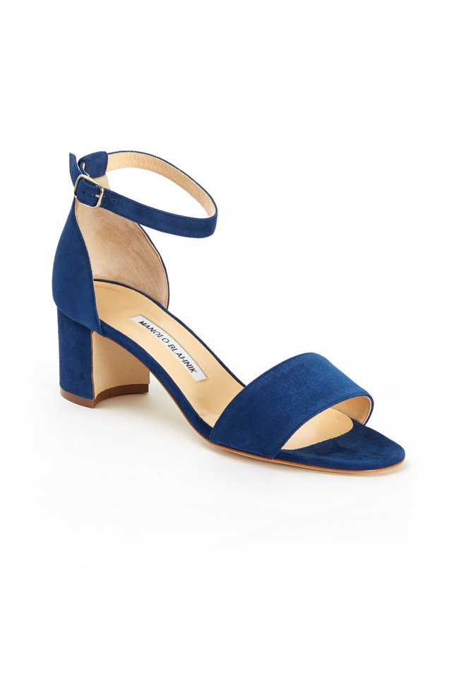 Lauramod Blue Suede Ankle Strap Sandals