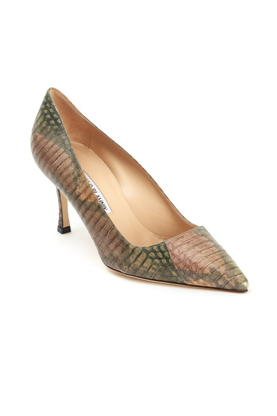 Manolo Blahnik - BB Military Snakeskin Pumps 70mm