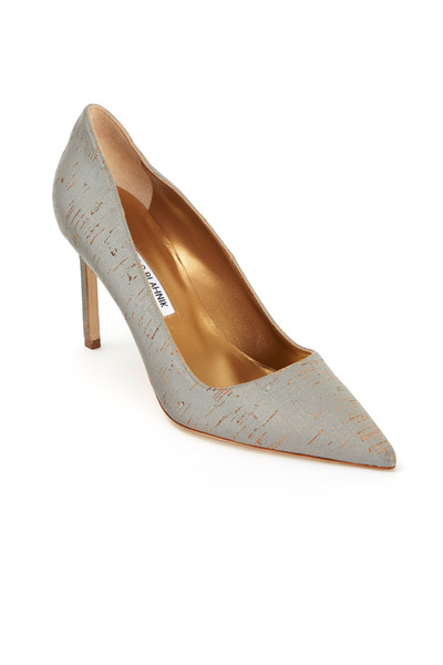 Manolo Blahnik - BB Grey Metallic Cork Pumps 90mm