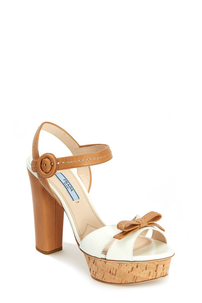 Prada - White & Natural Cork Bow Platform Sandal, 110mm