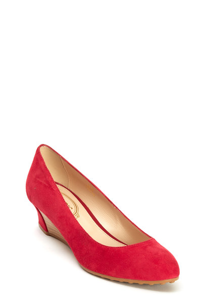 Tod's - Zeppa Strawberry Suede Round Toe Wedges