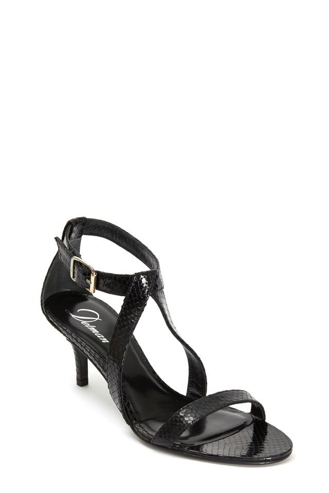 Tori Black Python Leather Sandal, 65mm