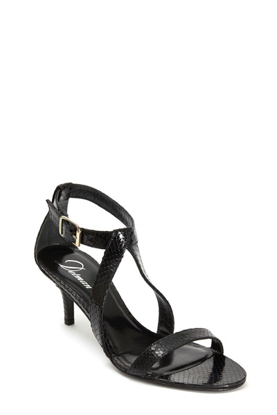 Delman - Tori Black Python Leather Sandal, 65mm