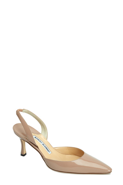 Manolo Blahnik - Carolyne Nude Patent Leather Slingback, 70mm