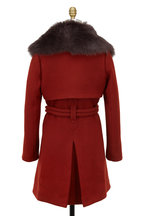 Chloé - Dark Red Wool With Shearling Collar Coat