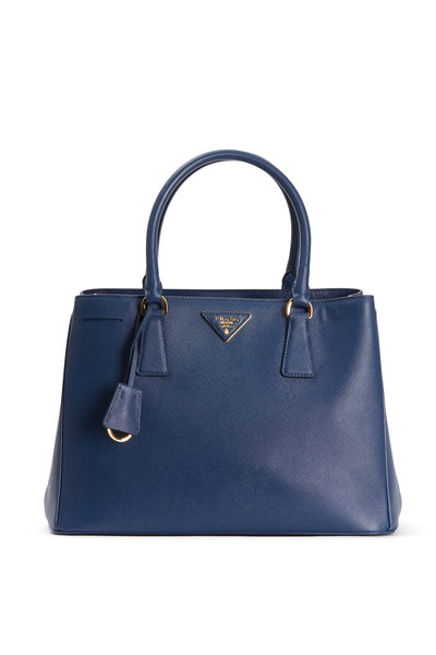 Prada - Blue Saffiano Leather Small Tote