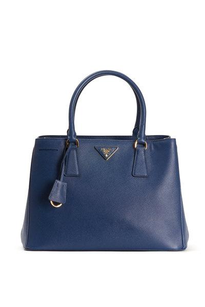 Prada - Blue Saffiano Leather Small Tote