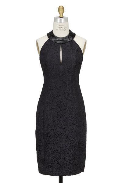 Akris - Black Brocade Chain Halter Dress