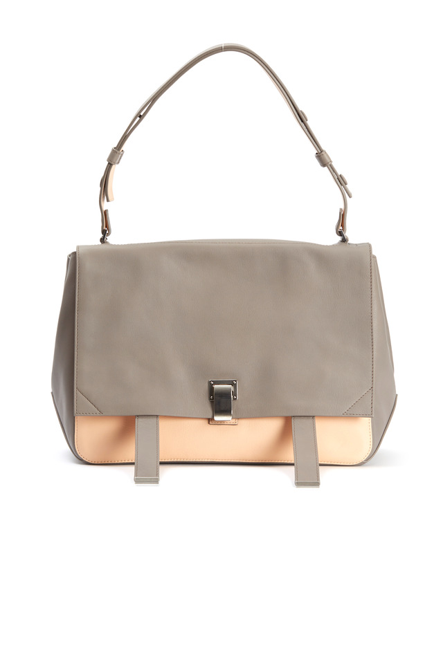 Grey And Pink Leather Courier, Large