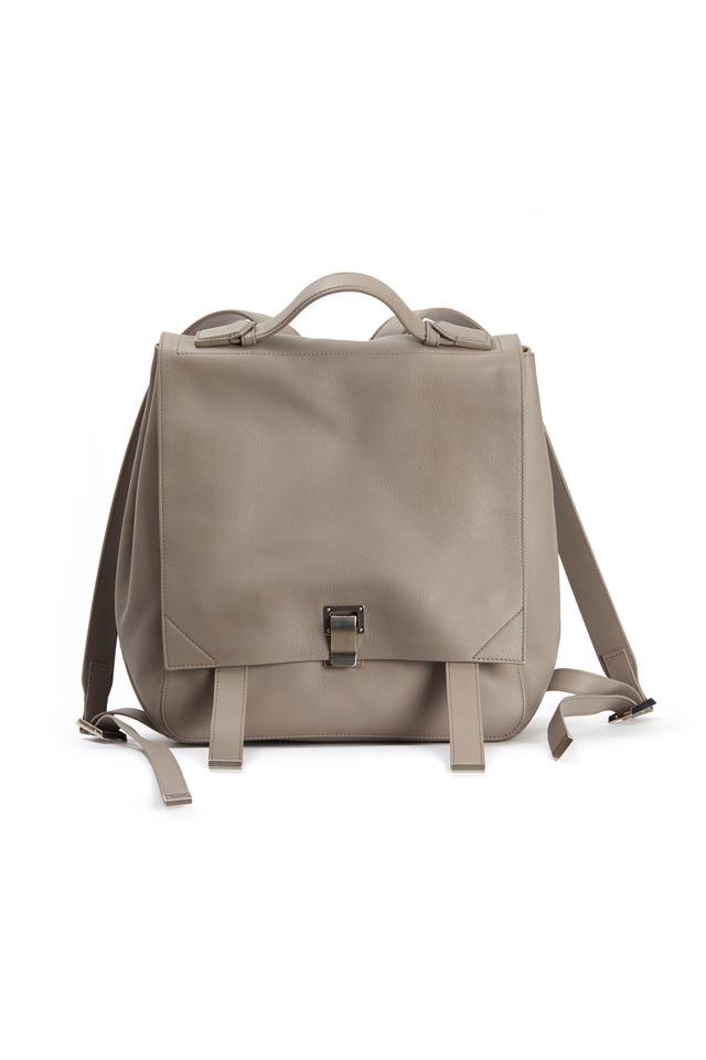Mushroom Grey Leather Backpack