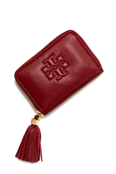 Tory Burch - Red Pebbled Leather Zip Coincase