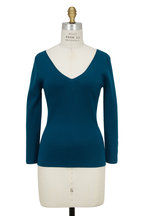 Michael Kors Collection - Peacock Blue Cashmere Knit Pullover