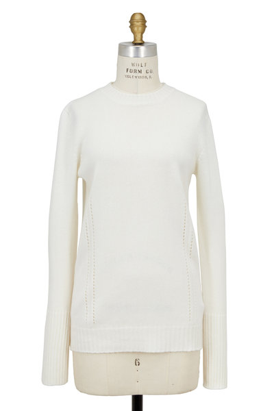 Agnona - White Crewneck Stitch Sweater