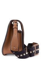 Valentino Garavani - Nutmeg Pebbled Leather & Rockstud Strap Crossbody