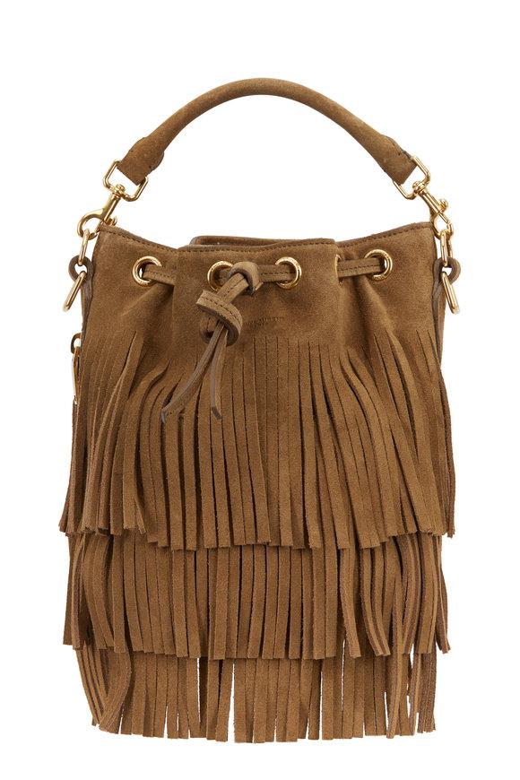 Saint Laurent Emmanuelle Khaki Suede Fringed Small Bucket Bag