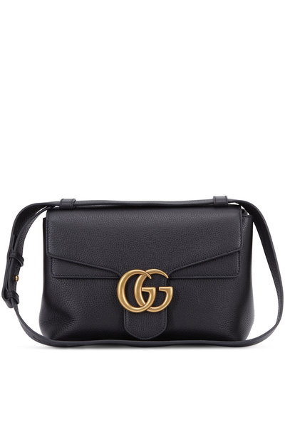 Gucci - GG Marmont Black Leather Flap Small Shoulder Bag