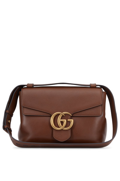 Gucci - GG Marmont Nutmeg Leather Flap Small Shoulder Bag