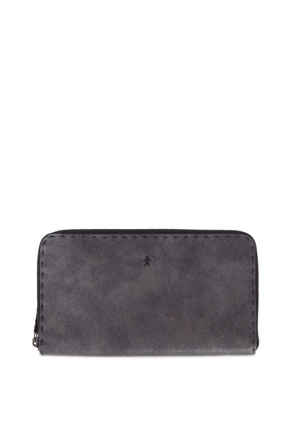 Henry Beguelin Ocean Gray Cervo Leather Zip Continental Wallet