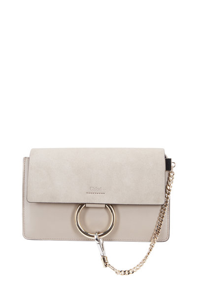 Chloé - Faye Light Gray Leather & Suede Small Shoulder Bag