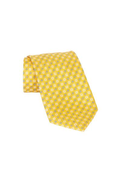 Brioni - Yellow Geometric Silk Necktie