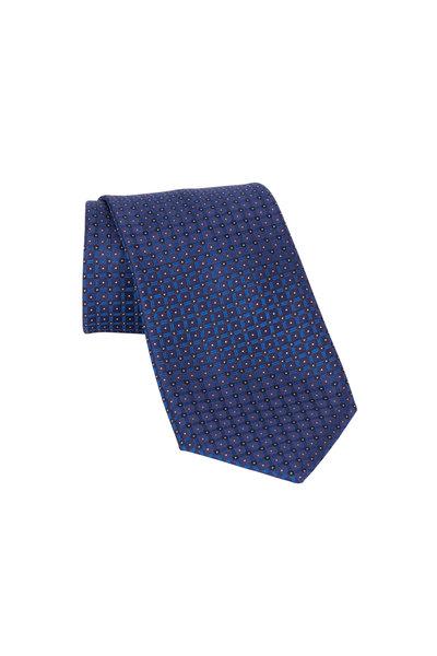 Brioni - Royal Blue Geometric Silk Necktie