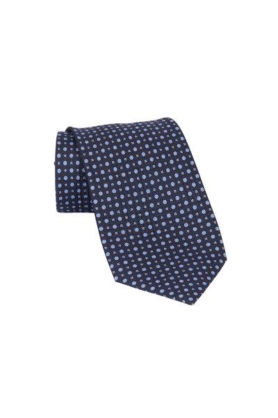 Brioni - Navy Blue Small Dot Silk Necktie