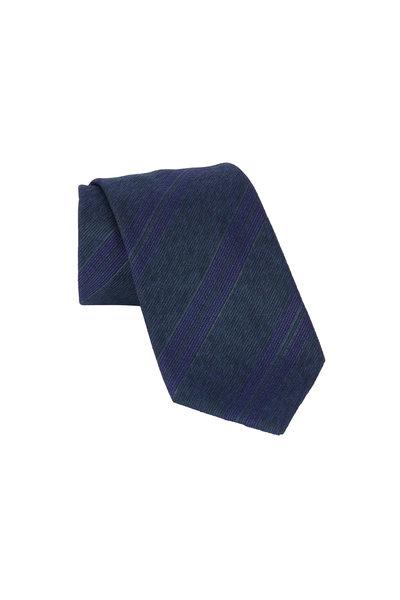 Brioni - Dark Green & Blue Striped Silk & Wool Necktie