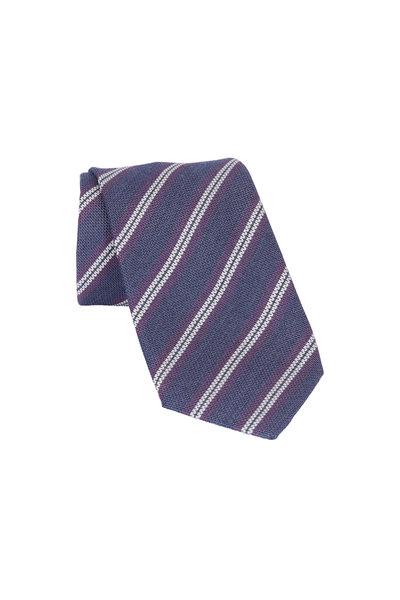 Brioni - Purple Striped Silk & Wool Necktie
