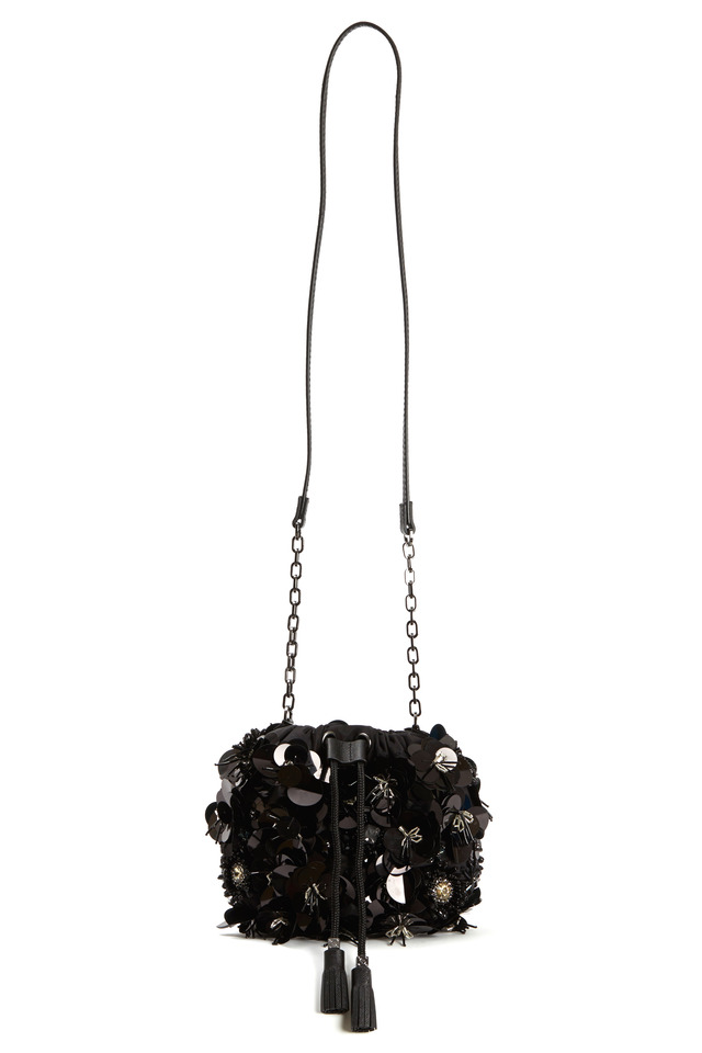 Black Nylon Flower Cluster Mini Handbag
