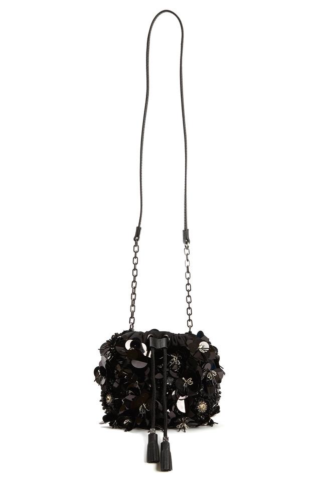Black Nylon Flower Cluster Mini Handbag