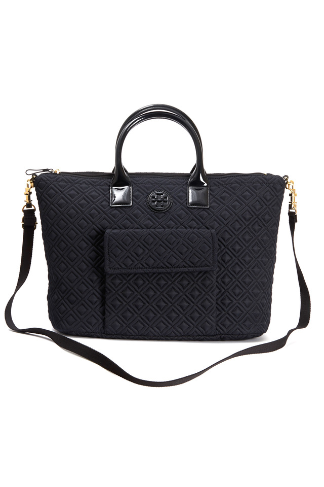 Black Nylon Quilted Tote