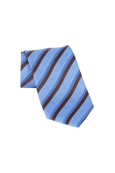 Ermenegildo Zegna - Light Blue & Brown Striped Silk Necktie