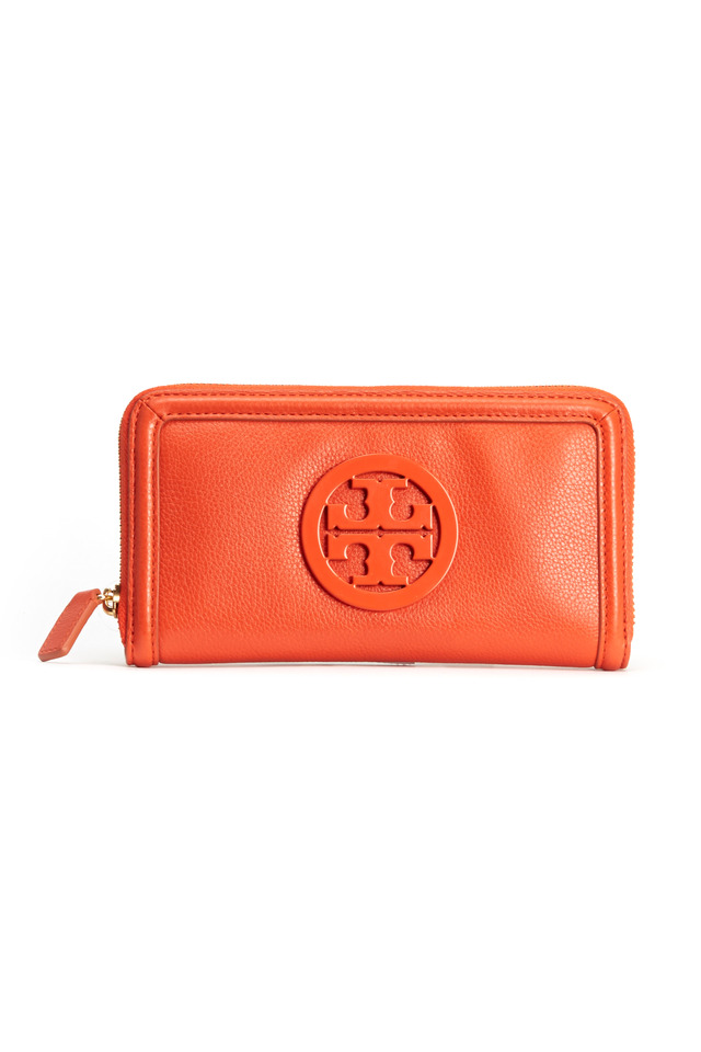 Orange Leather Enamel Logo Zip Continental Wallet