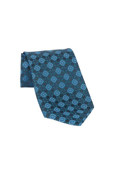 Charvet - Green & Blue Print Silk Necktie