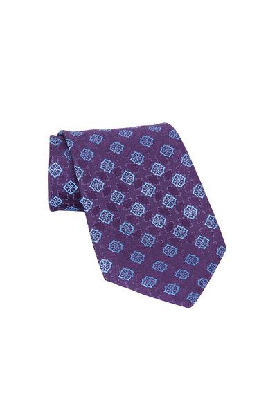 Charvet - Purple & Blue Print Silk Necktie