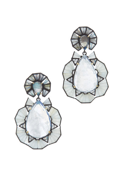 Nak Armstrong - 18K Gold & Silver Sapphire Moonstone Earrings