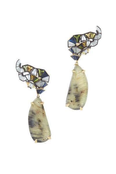 Nak Armstrong - 18K Gold & Silver Sapphire Labradorite Earrings
