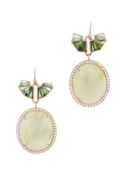Nak Armstrong - 18K Gold Sapphire & Tourmaline Diamond Earrings
