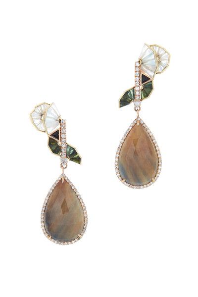 Nak Armstrong - Gold Watermelon Tourmaline Moonstone Earrings