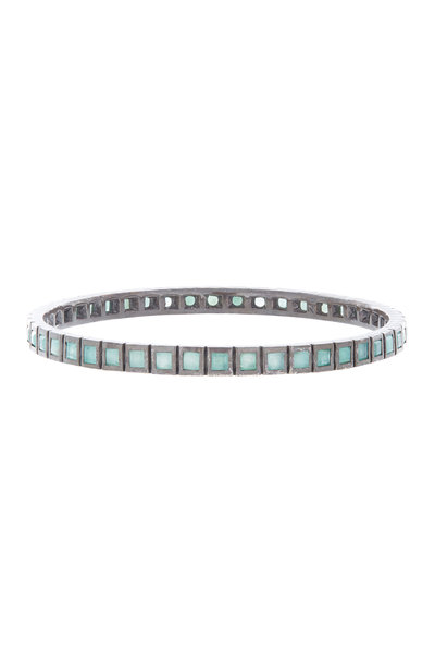 Nak Armstrong - Oxidized Sterling Silver Emerald Bangle