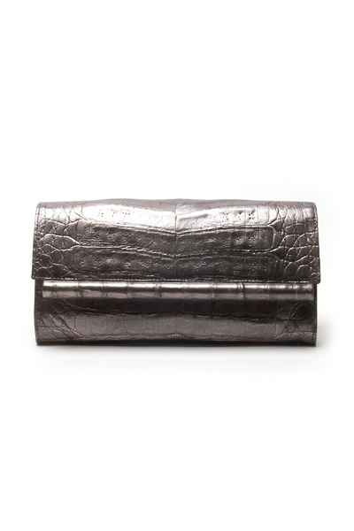 Nancy Gonzalez - Gunmetal Crocodile Leather Bar Small Clutch