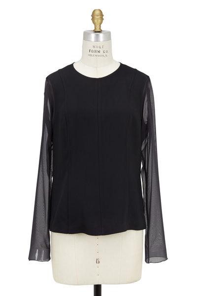 Rag & Bone - Gustave Black Sheer Sleeves Top