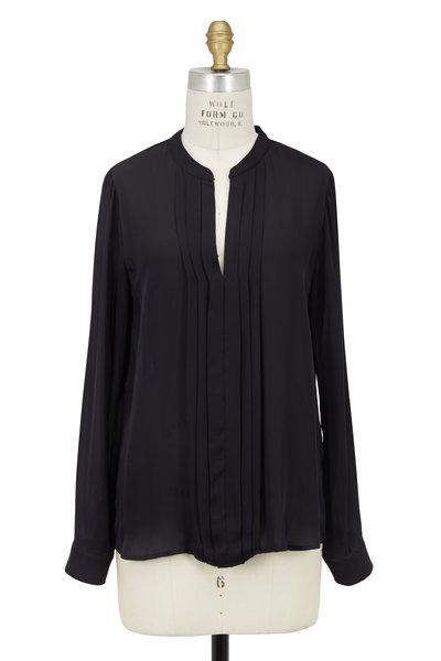 L'Agence - Lauren Black Silk Pleated Popover Blouse