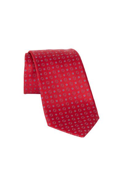 Ermenegildo Zegna - Red Geometric Silk Necktie
