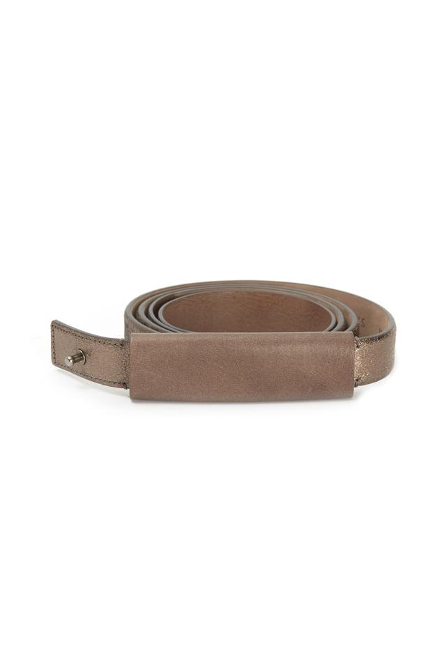 Gunmetal Leather Tube Belt
