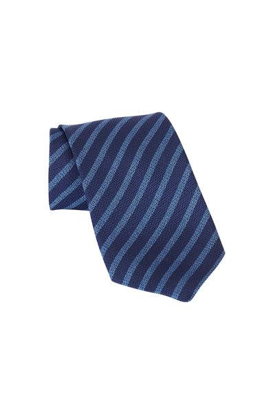 Ermenegildo Zegna - Navy Blue Striped Silk Necktie
