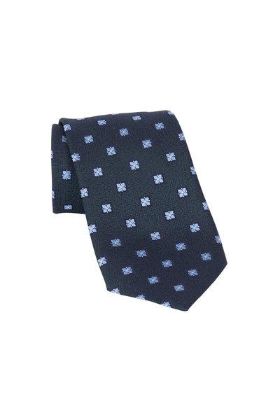 Ermenegildo Zegna - Green & Blue Geometric Silk Necktie